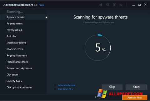 Posnetek zaslona Advanced SystemCare Pro Windows XP