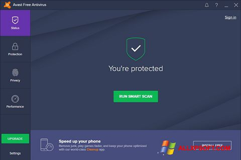 Posnetek zaslona Avast Free Antivirus Windows XP