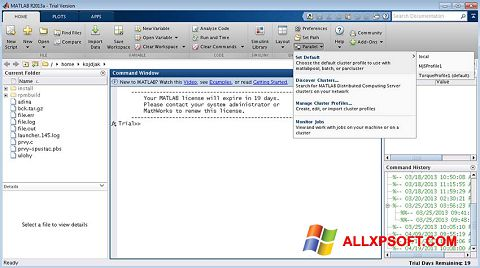 Posnetek zaslona MATLAB Windows XP