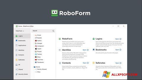 Posnetek zaslona RoboForm Windows XP
