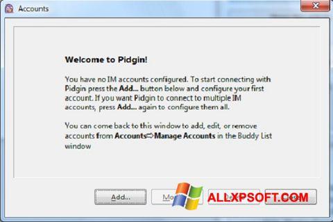 Posnetek zaslona Pidgin Windows XP