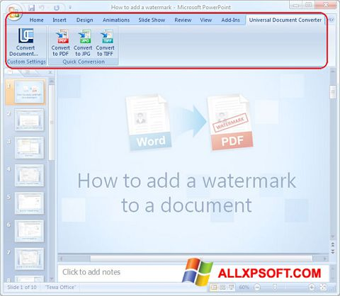 Posnetek zaslona Microsoft PowerPoint Windows XP