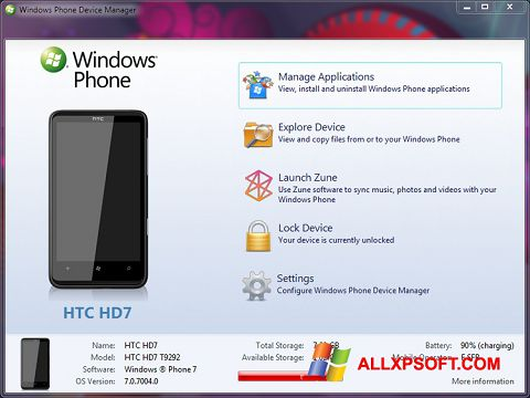 Posnetek zaslona Windows Phone Device Manager Windows XP