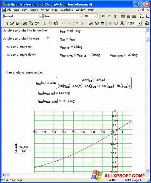 Posnetek zaslona MathCAD Windows XP