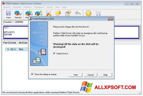 Posnetek zaslona Partition Table Doctor Windows XP