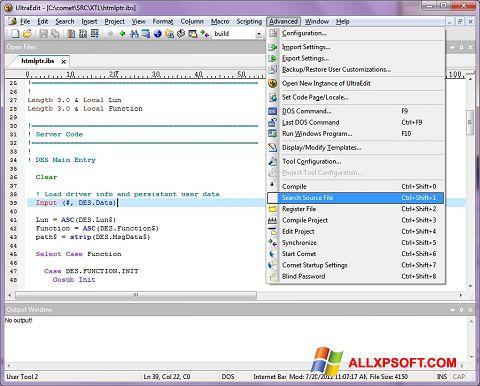 Posnetek zaslona UltraEdit Windows XP