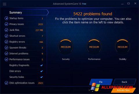 Posnetek zaslona Advanced SystemCare Free Windows XP