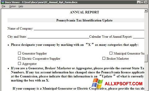 Posnetek zaslona DocX Viewer Windows XP