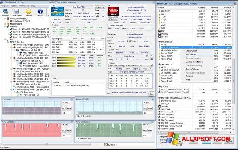 Posnetek zaslona HWiNFO Windows XP