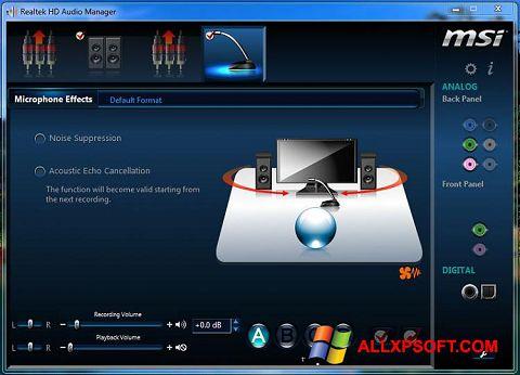 Posnetek zaslona Realtek Audio Driver Windows XP