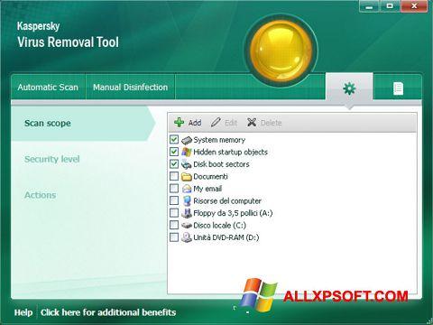 Posnetek zaslona Kaspersky Virus Removal Tool Windows XP