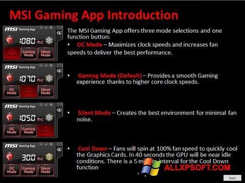 Posnetek zaslona MSI Gaming App Windows XP
