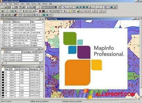 Posnetek zaslona MapInfo Professional Windows XP