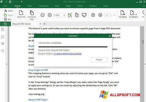 Posnetek zaslona PDF Editor Windows XP