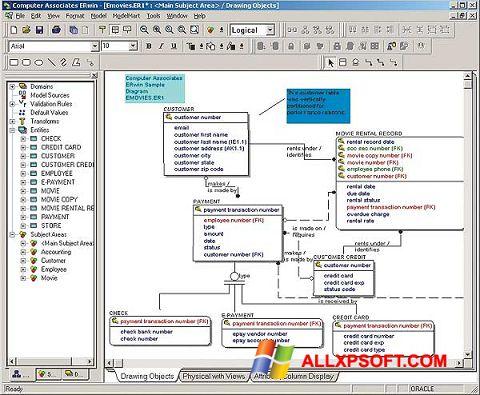 Posnetek zaslona ERWin Windows XP