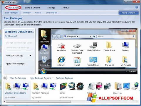 Posnetek zaslona IconPackager Windows XP