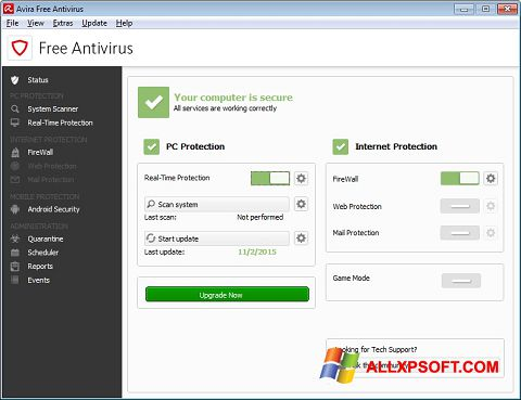 Posnetek zaslona Avira Free Antivirus Windows XP
