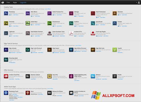 Posnetek zaslona Adobe Creative Cloud Windows XP