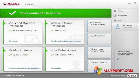 Posnetek zaslona McAfee LiveSafe Windows XP