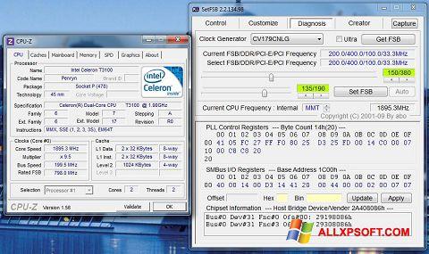 Posnetek zaslona SetFSB Windows XP