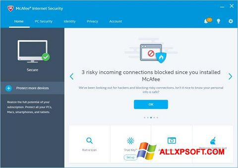 Posnetek zaslona McAfee Internet Security Windows XP