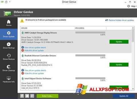 Posnetek zaslona Driver Genius Windows XP