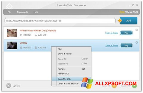 Posnetek zaslona Freemake Video Downloader Windows XP