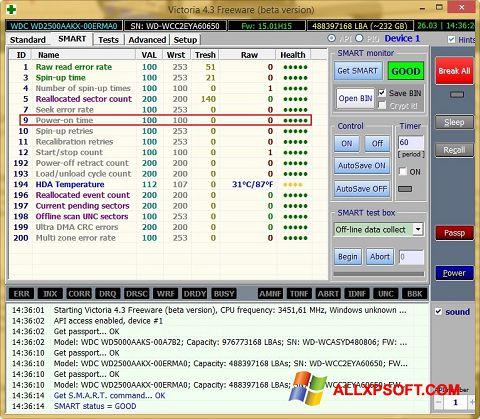 Posnetek zaslona Victoria Windows XP