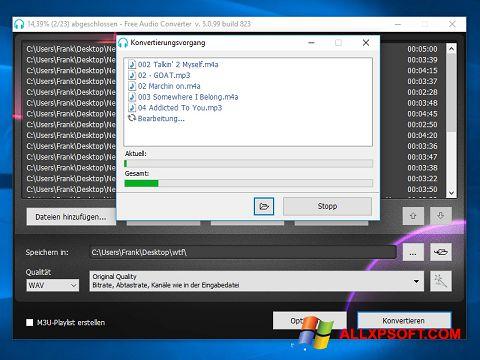 Posnetek zaslona Free Audio Converter Windows XP