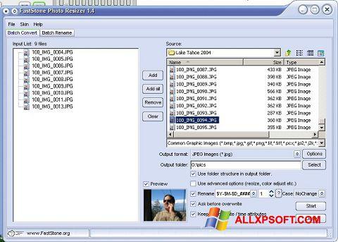 Posnetek zaslona FastStone Photo Resizer Windows XP