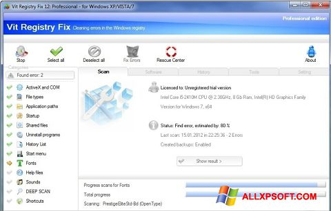 Posnetek zaslona Vit Registry Fix Windows XP