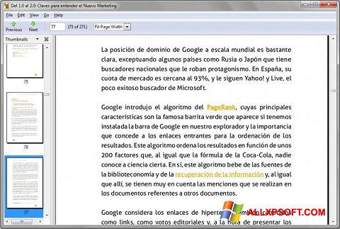 Posnetek zaslona Evince Windows XP