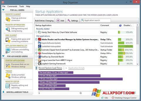 Posnetek zaslona Reg Organizer Windows XP