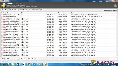 Posnetek zaslona Recuva Windows XP