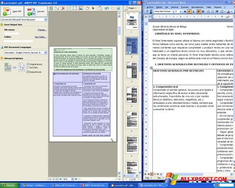 Posnetek zaslona ABBYY PDF Transformer Windows XP