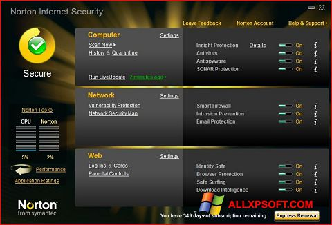 Posnetek zaslona Norton Internet Security Windows XP