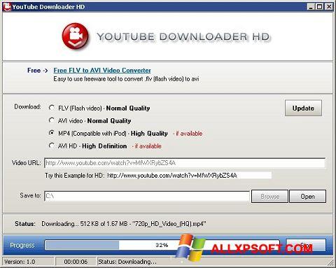 Posnetek zaslona Youtube Downloader HD Windows XP