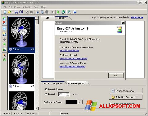 Posnetek zaslona Easy GIF Animator Windows XP