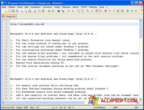 Posnetek zaslona Notepad++ Windows XP