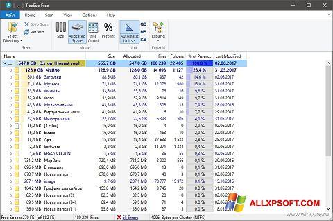 Posnetek zaslona TreeSize Free Windows XP