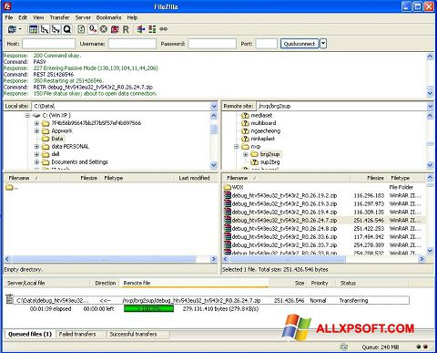 Posnetek zaslona FileZilla Server Windows XP