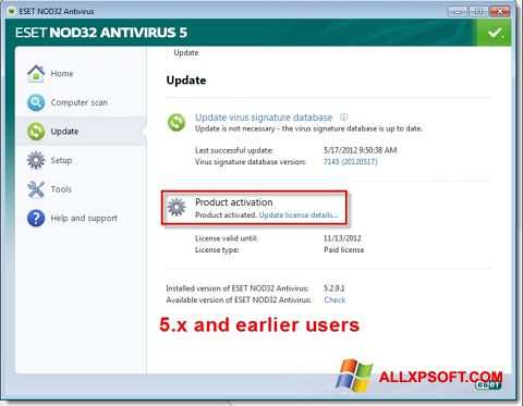 Posnetek zaslona ESET NOD32 Windows XP
