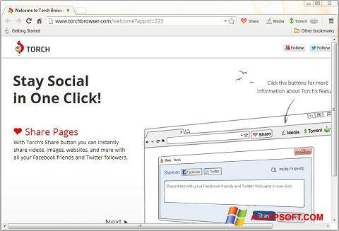 Posnetek zaslona Torch Browser Windows XP