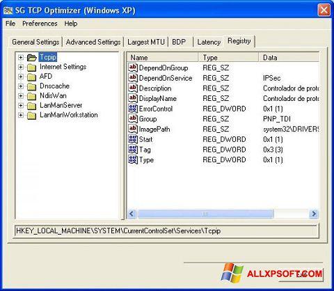 Posnetek zaslona TCP Optimizer Windows XP