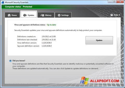Posnetek zaslona Microsoft Security Essentials Windows XP