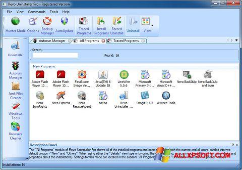 Posnetek zaslona Revo Uninstaller Pro Windows XP