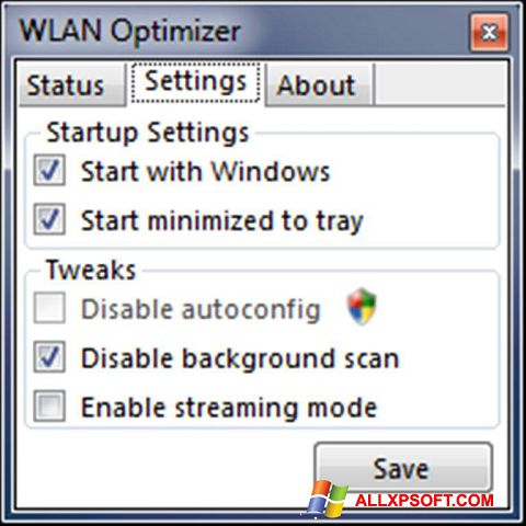 Posnetek zaslona WLAN Optimizer Windows XP